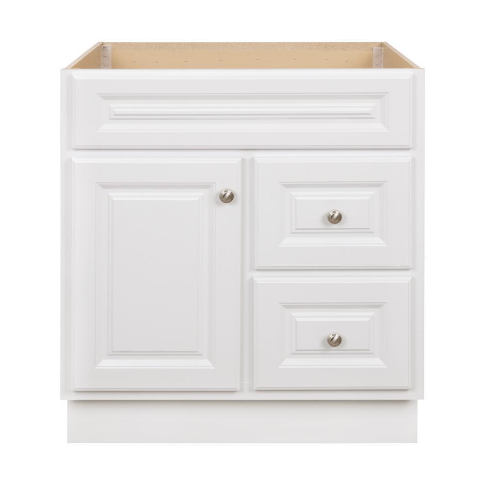 Hampton 30 in. W x 21 in. D x 33.5 in. H Bathroom Vanity Cabinet Only in White