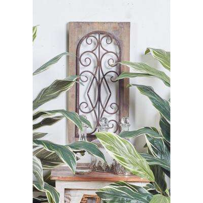 23 in. x 11 in. Brown Iron Scrollwork Framed Wooden Wall Art