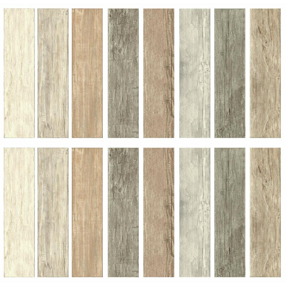 Wood Wall Planks: RoomMates 4 In. X 16.74 In. 16-Piece Multi-Color