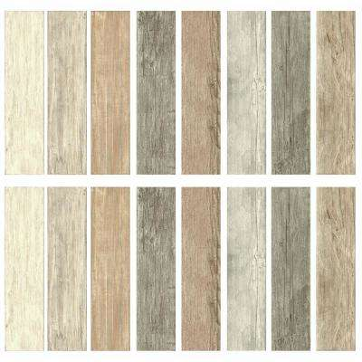 5 in. x 19 in. 16-Piece Multi-Color Distressed Barn Wood Plank Peel and Stick Wall Decals