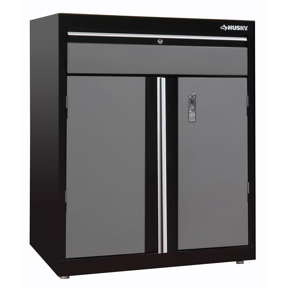 2 Shelf Steel Base Cabinet In Black Grey