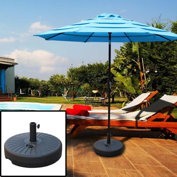 48 lbs. Capacity Plastic Weighted Patio Umbrella Base in Black