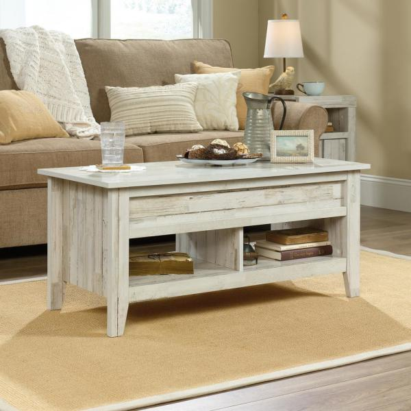 Sauder Dakota Pass 44 In White Plank Large Rectangle Composite Coffee Table With Lift Top 424120 The Home Depot