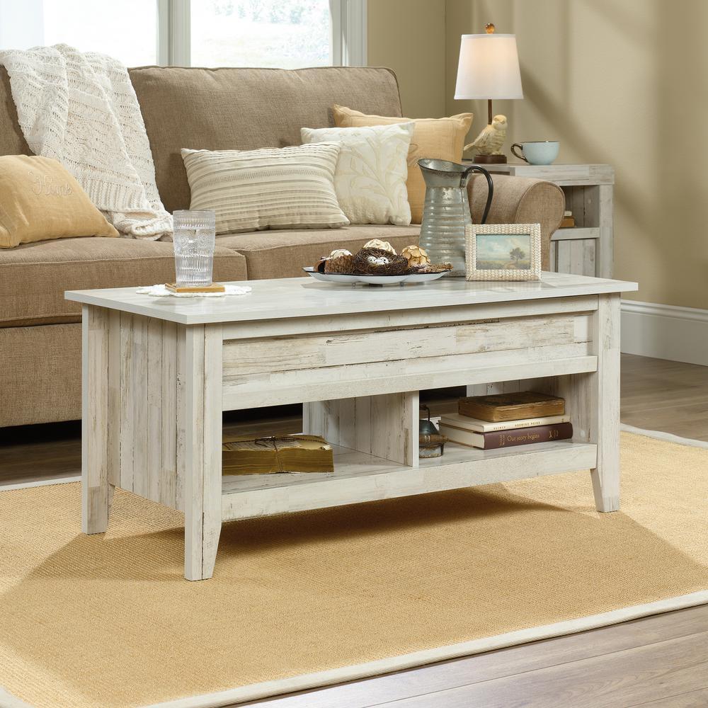 Dakota Pass White Plank Lift-Top Coffee Table