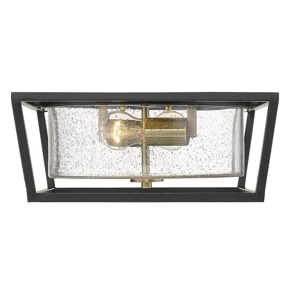Golden Lighting Mercer 2-Light 14.5 in. Matte Black with Aged Brass Accents and Seeded Glass Flush Mount
