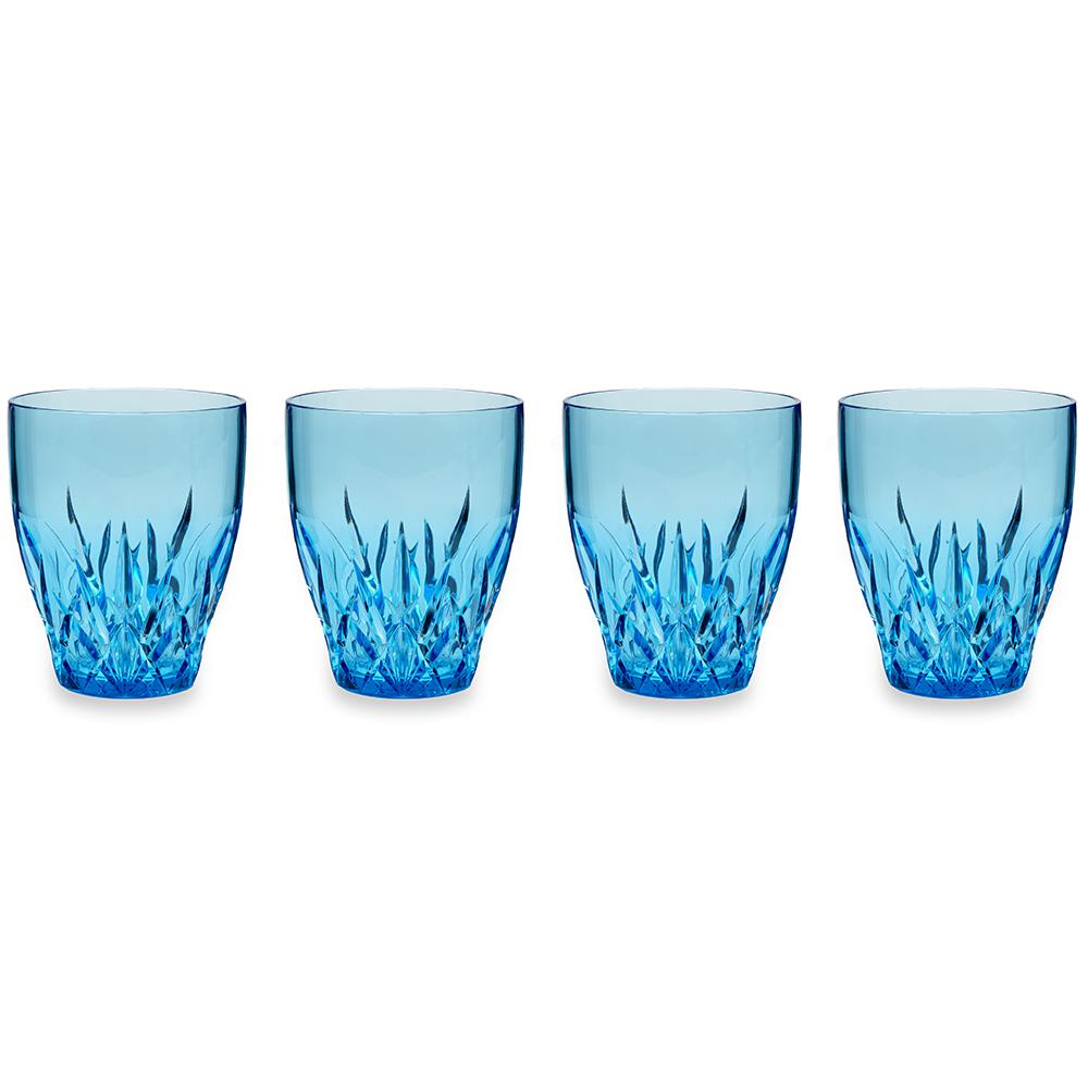 Aurora 12 oz. Blue Stemless Wine Glass (Set of 4)