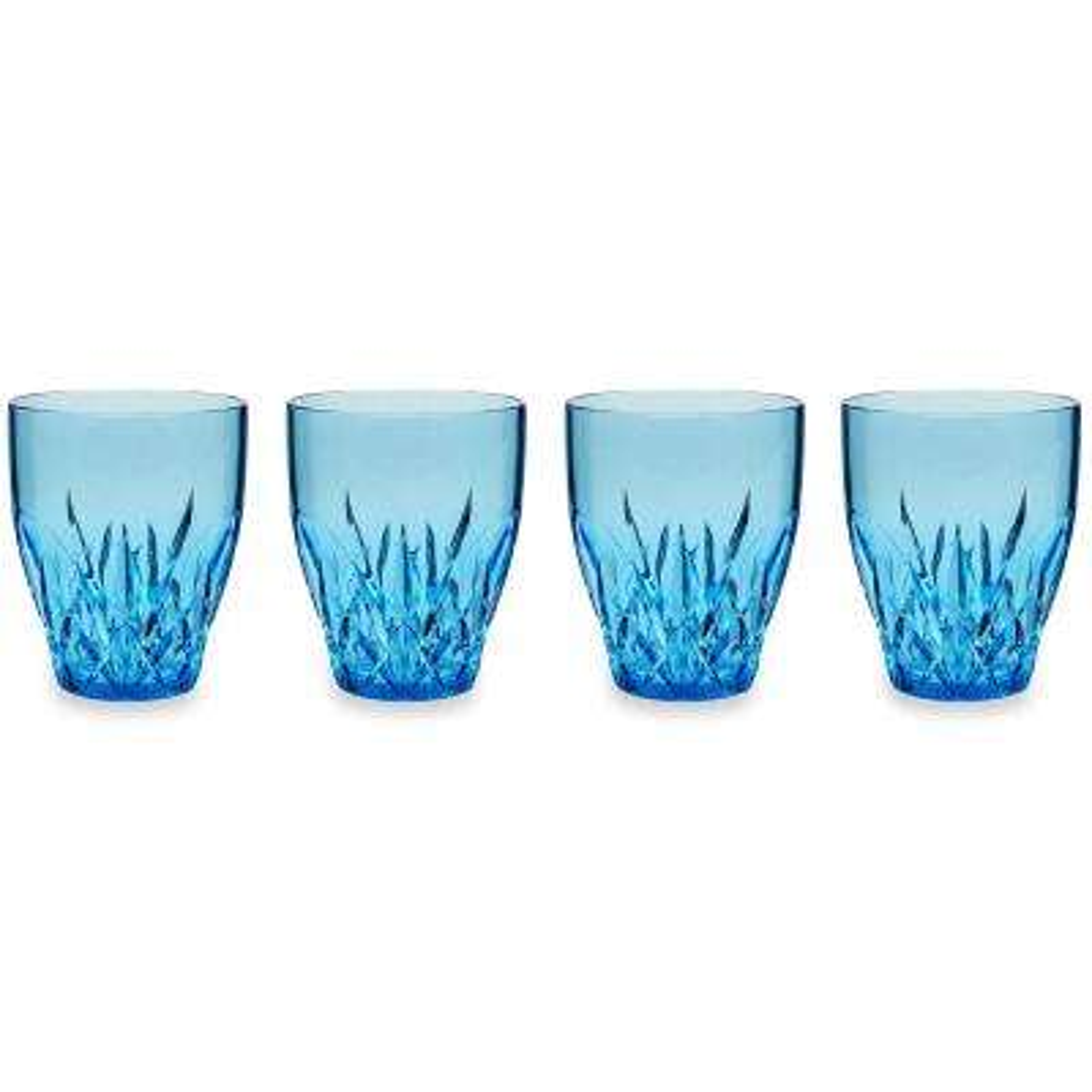 Aurora 12 oz. Blue Stemless Wine Glass (Set of 4)