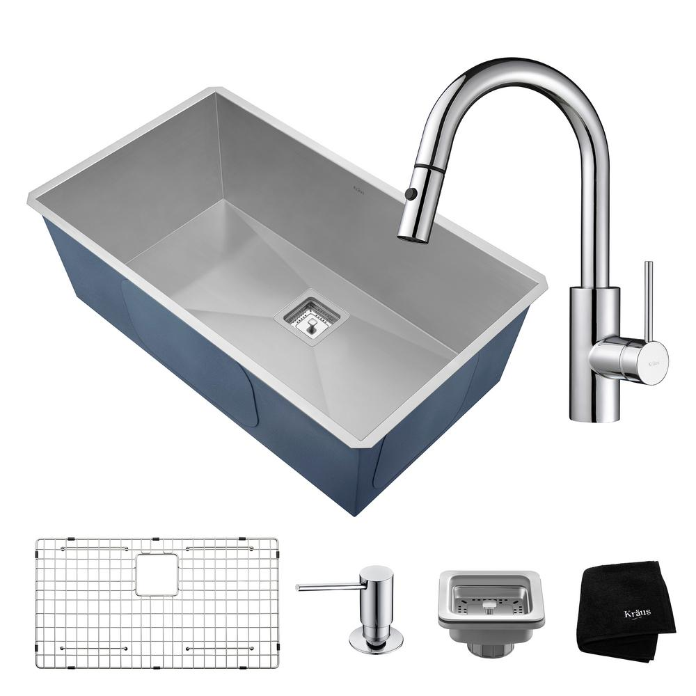 Kraus Pax All-in-One Undermount Stainless Steel 32 in. Si...