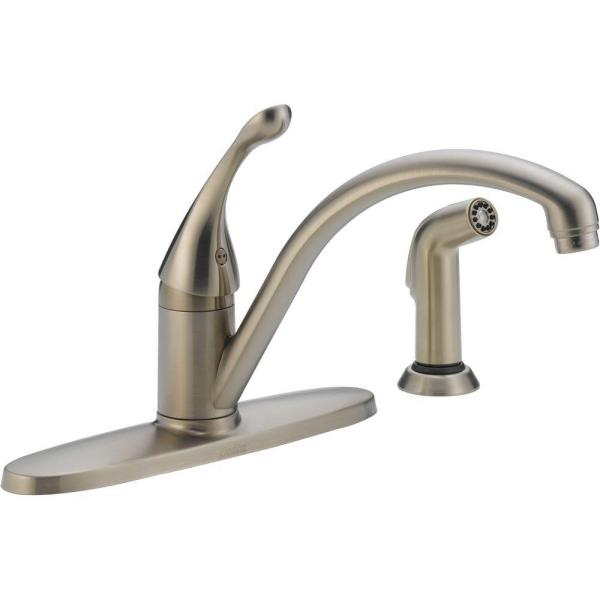Delta Collins Single Handle Standard Kitchen Faucet With Side Sprayer In Stainless 440 Ss Dst The Home Depot