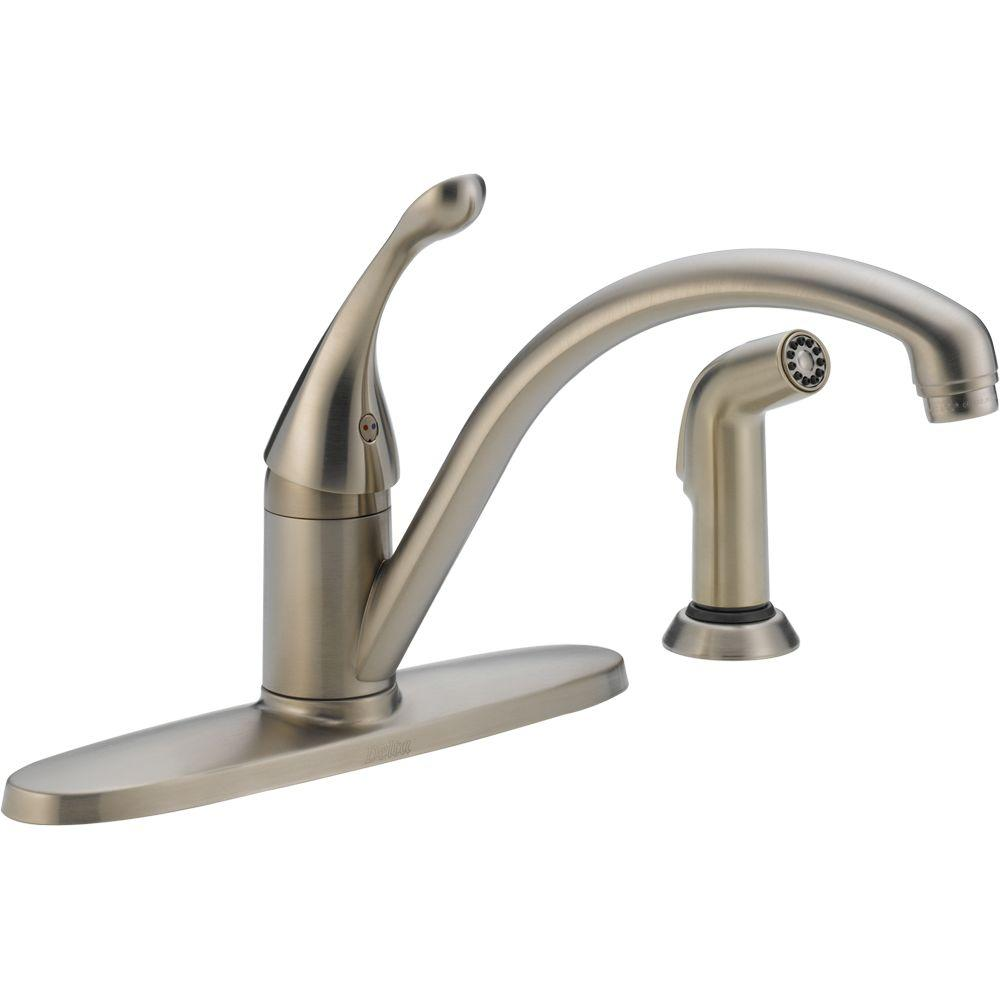 delta collins single handle standard kitchen faucet with side