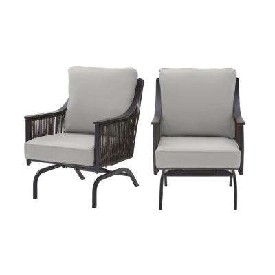 Bayhurst Black Wicker Outdoor Patio Rocking Lounge Chair with CushionGuard Stone Gray Cushions (2-Pack)