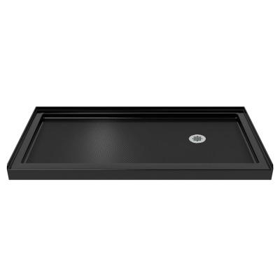 SlimLine 34 in. D x 60 in. W Single Threshold Shower Base in Black Color with Right Hand Drain