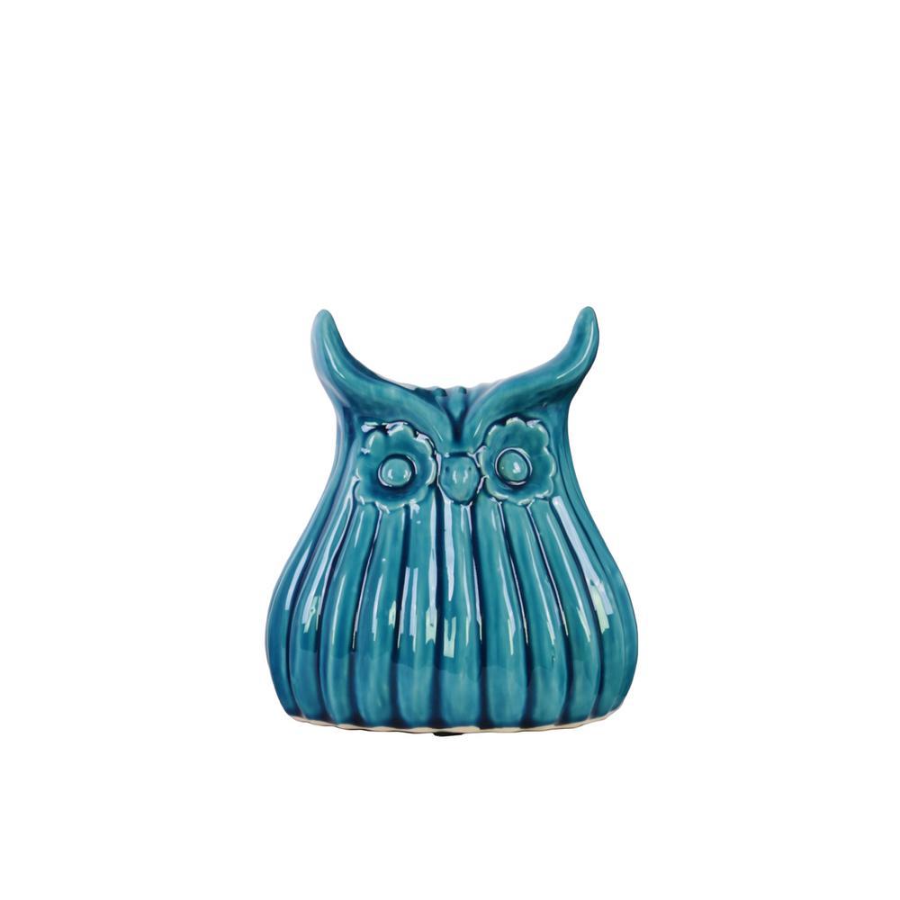 7.25 in. H Owl Decorative Figurine in Blue Gloss Finish
