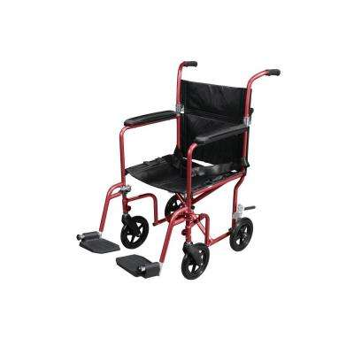 Flyweight Transport Wheelchair with Removable Wheels in Red