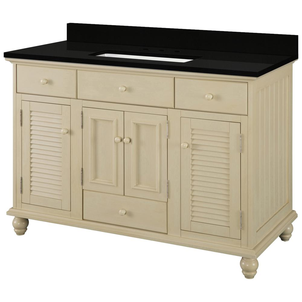 Home Decorators Collection Cottage 49 in. W x 22 in. D Vanity in Antique White with Granite Vanity Top in Midnight Black with Trough White Basin was $1189.0 now $713.4 (40.0% off)