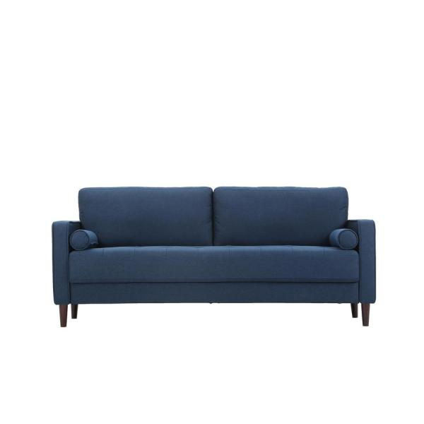 Lillith 31.1 in. Navy Blue Polyester 4-Seater Tuxedo Sofa with Square Arms
