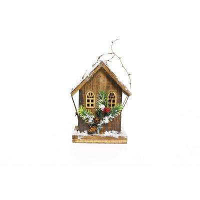 8 in. Christmas Wooden Birdhouse with 5 LED Lights