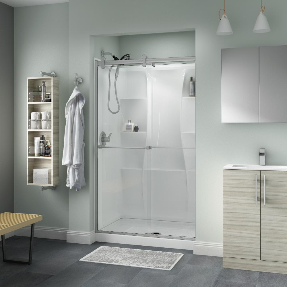 Delta Everly 48 x 71 in. Frameless Contemporary Sliding Shower Door in Nickel with Clear Glass