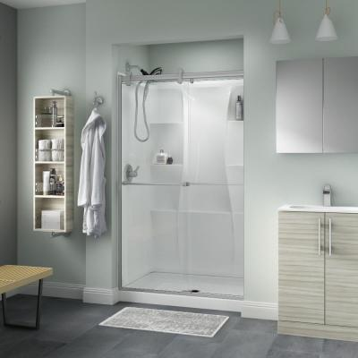 Everly 48 in. x 71 in. Contemporary Semi-Frameless Sliding Shower Door in Nickel and 1/4 in. (6mm) Clear Glass