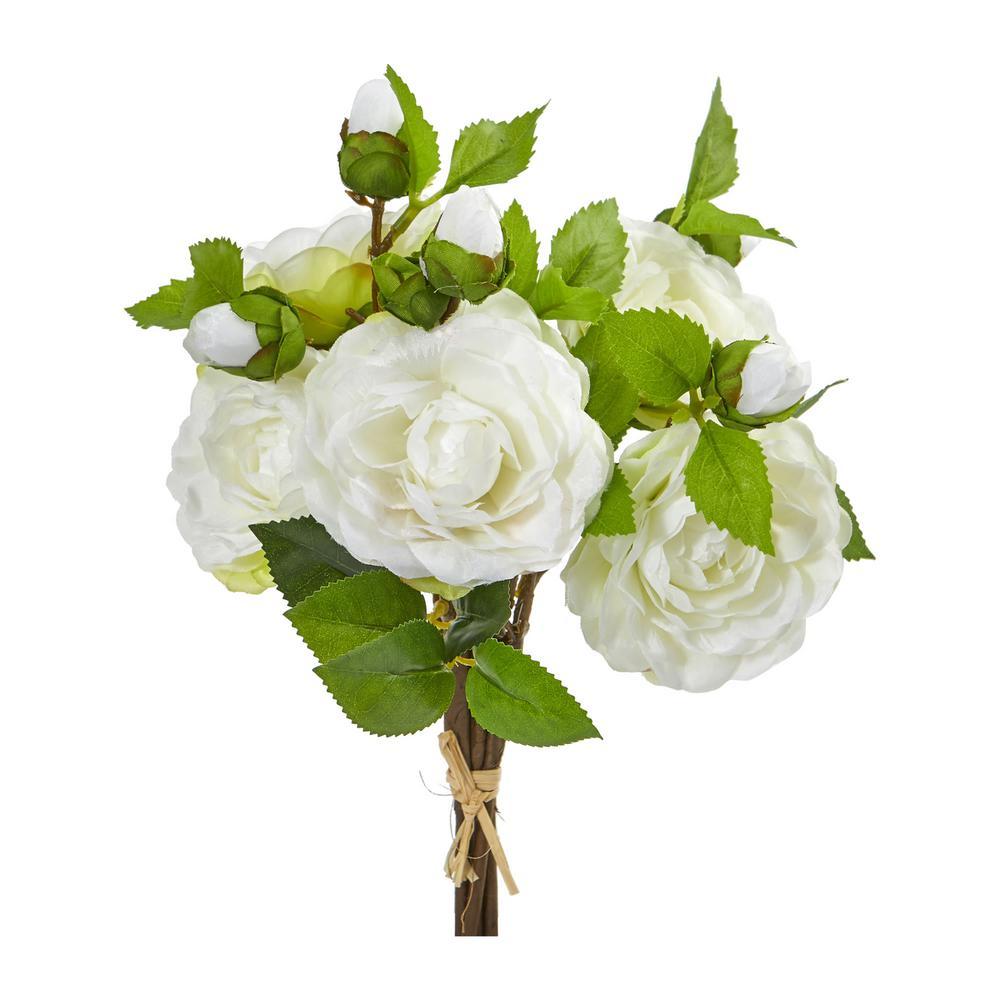 Indoor 11 Camellia Artificial Flower Bouquet (Set of 4)