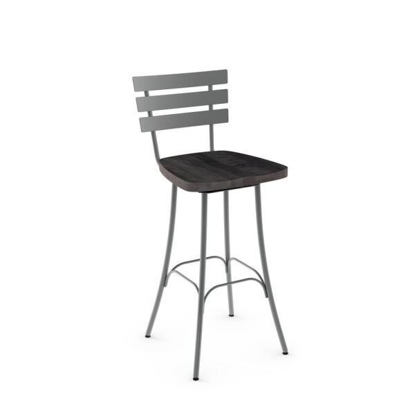 Swell Amisco Stadium 26 In Grey Metal Brown Wood Counter Stool Andrewgaddart Wooden Chair Designs For Living Room Andrewgaddartcom