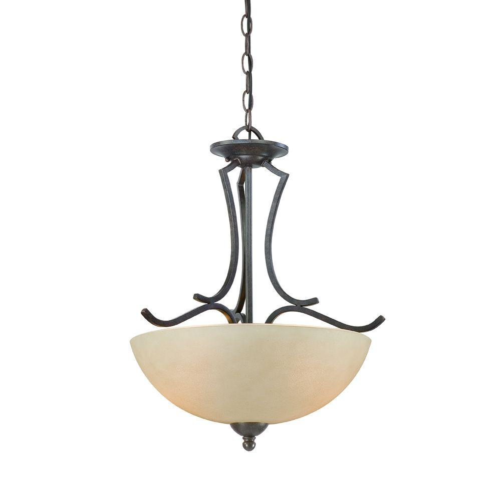 Thomas Lighting Triton 2-Light Sable Bronze Pendant with Tea Stained Glass Shade