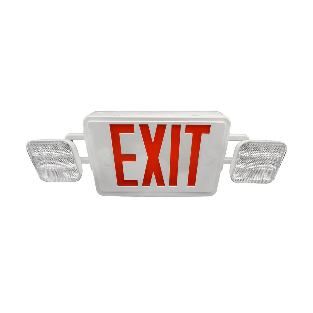 ECL1 25-Watt White Integrated LED Exit Sign with Emergency Lights and