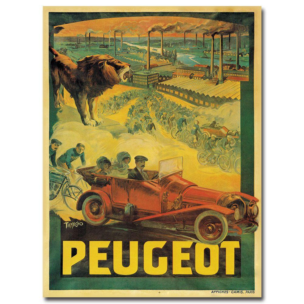 24 in. x 32 in. Peugeot Cars 1908 Canvas Art
