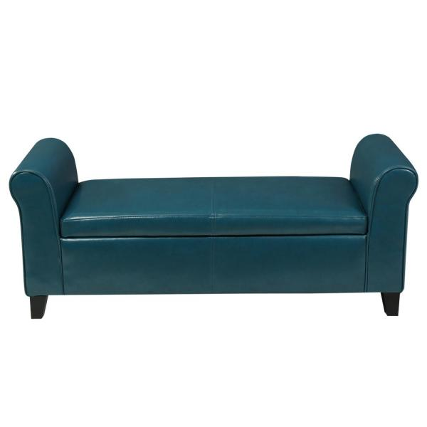 Hayes Teal PU Leather Armed Storage Bench