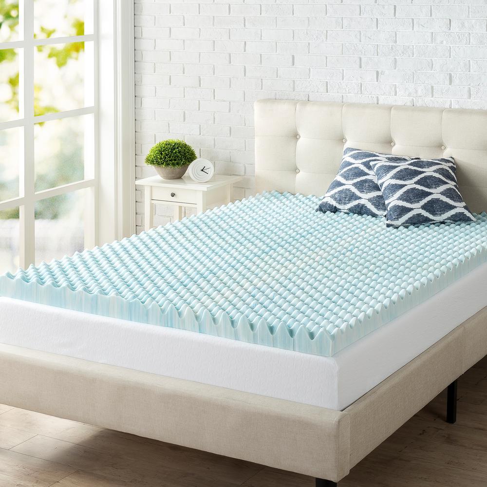 zinus 3 in full convoluted swirl foam topper hd swft 300f the home depot. Black Bedroom Furniture Sets. Home Design Ideas