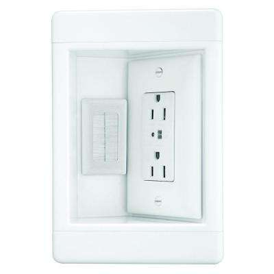 Pass & Seymour 1 Gang Recessed TV Media Box Kit with Surge Suppressing Outlet and Low Voltage Inserts, White