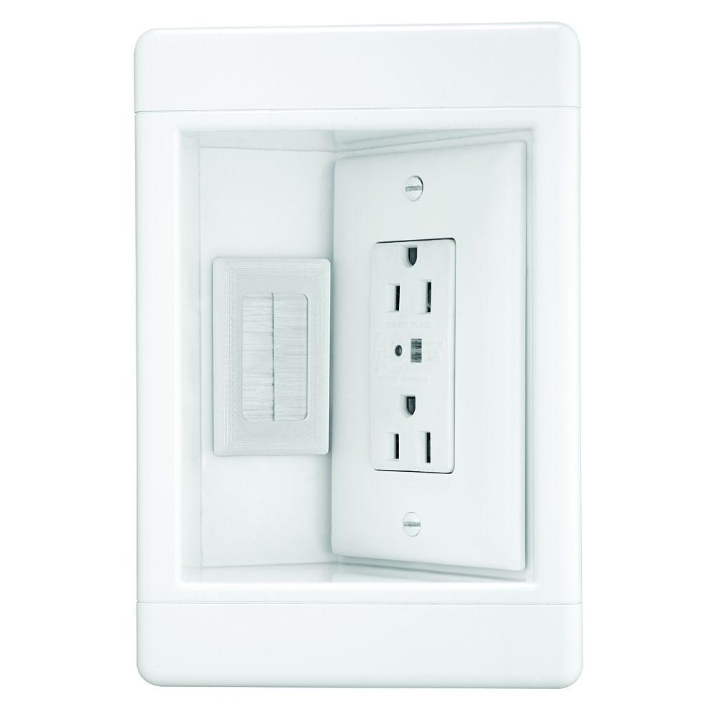 Legrand Pass & Seymour 15Amp 125Volt Recessed TV Box Combo Surge Outlet/Brush Insert