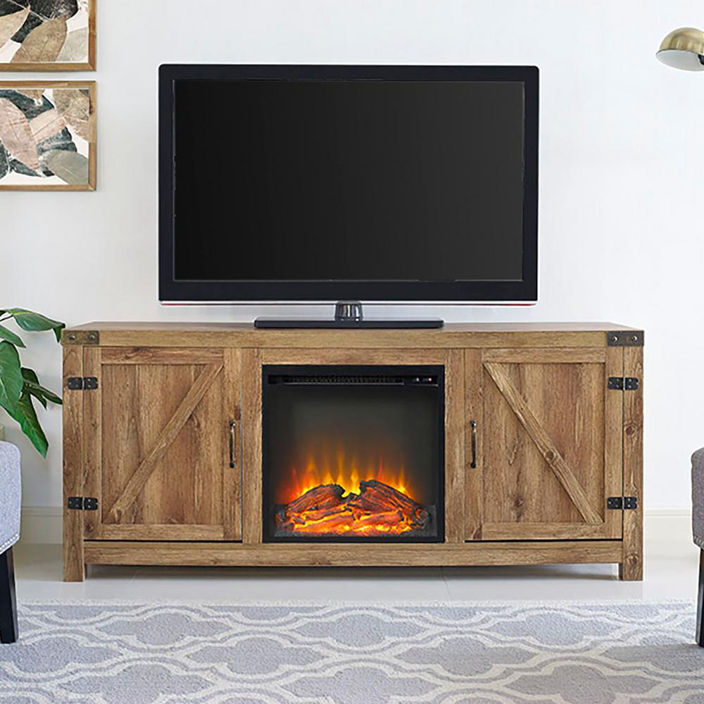 58 in. Rustic Electric Fireplace TV Console in Barnwood Entertainment Center