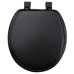 Classique ginsey round closed front soft toilet seat in black 01505 the home depot - Commode classique ...