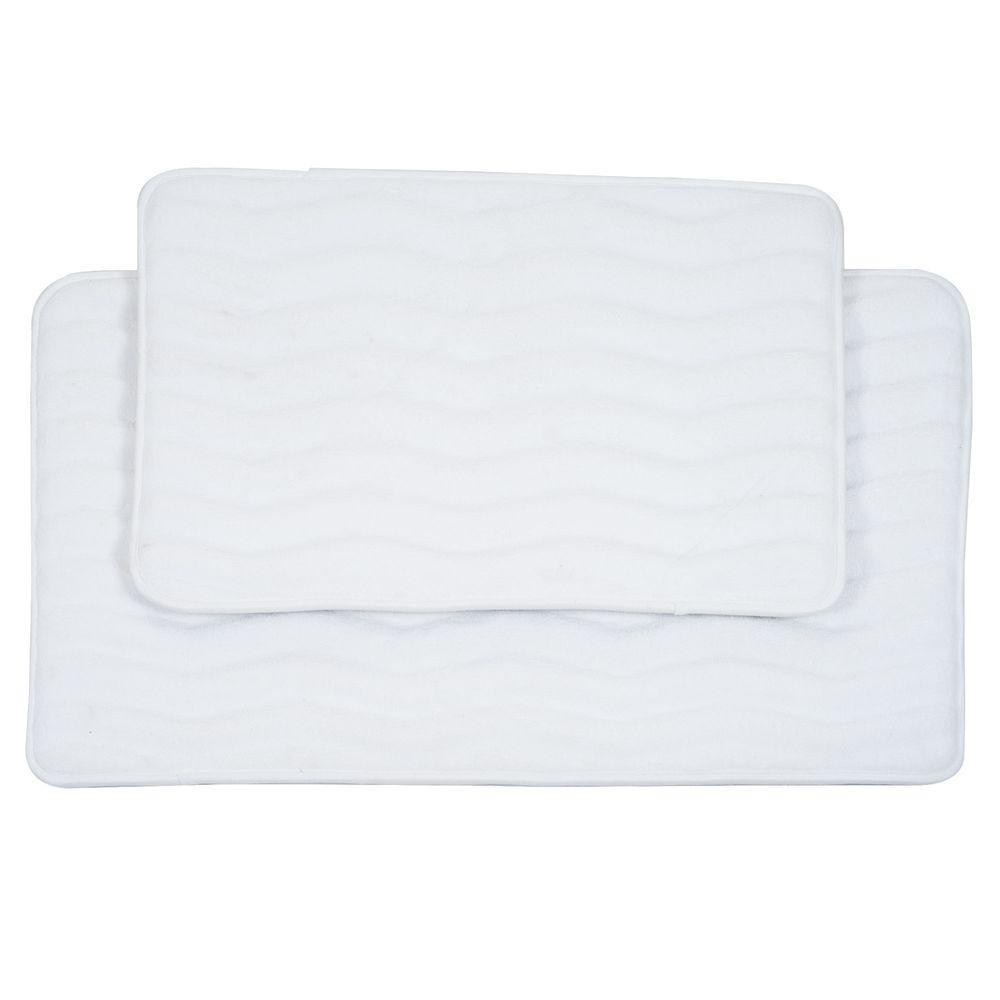 2 Piece White Memory Foam Bath Mat Set