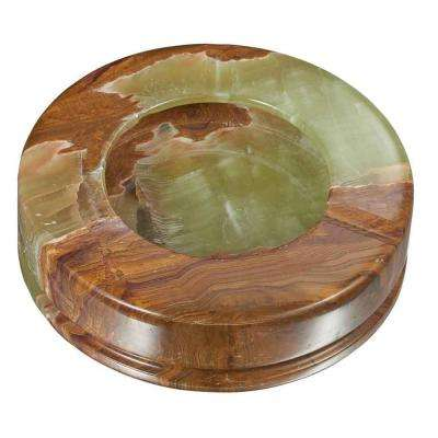Disk II Multicolored Onyx Stone Cigarette Ashtray with 3-Rests