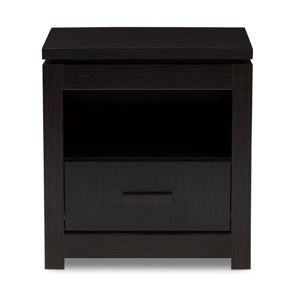 Baxton studio bienna 1 drawer wenge dark brown nightstand