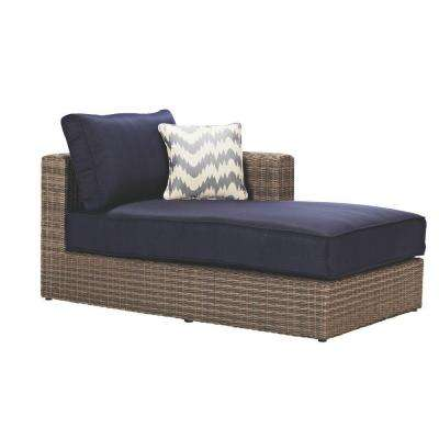 Naples All-Weather Grey Wicker Patio Left Arm Sectional Chaise with Navy Cushions