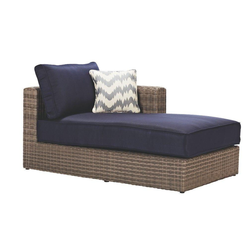Naples Grey All-Weather Wicker Left Arm Outdoor Sectional Chair with Navy