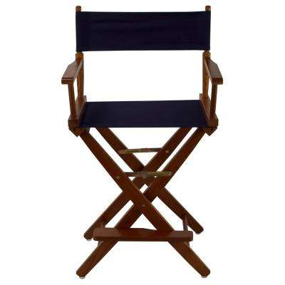 Extra-Wide 24 in. Mission Oak Frame/Navy Canvas American Hardwood Directors Chair