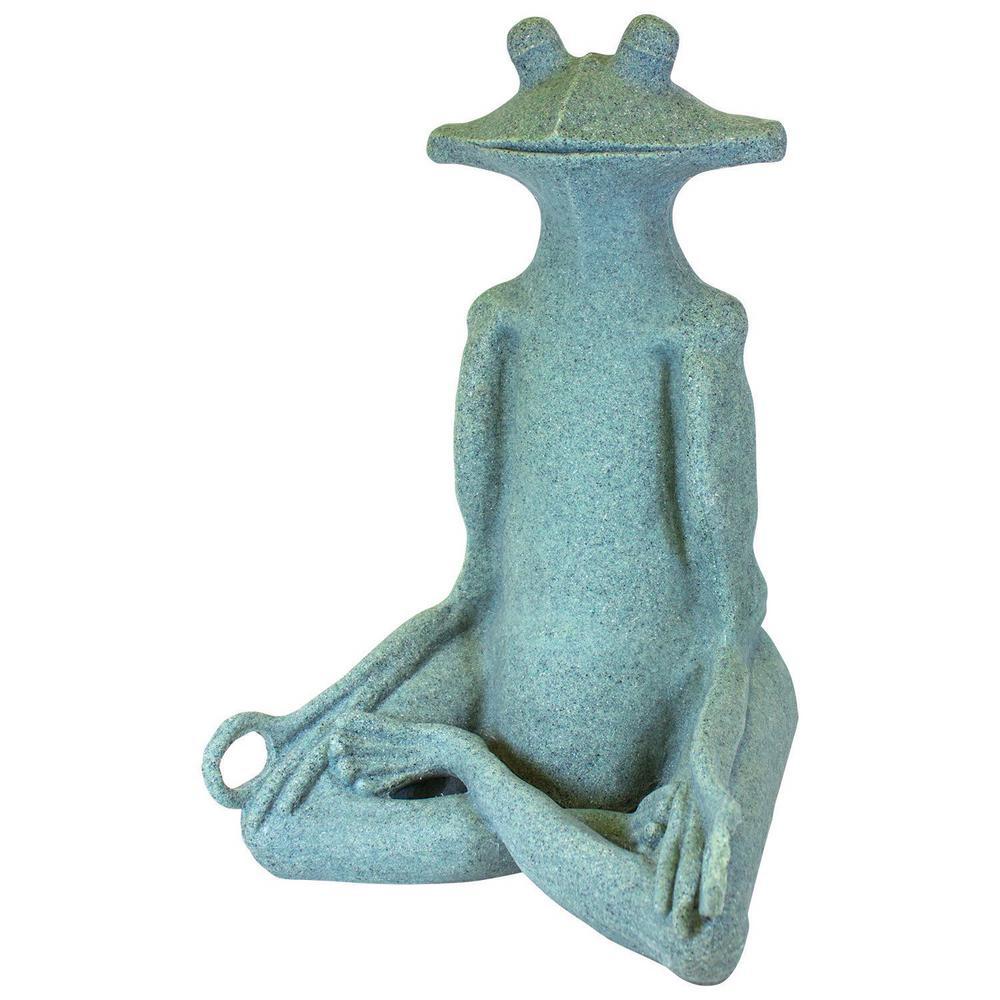 21 in. Garden Yoga Frog Statue in Jade Green