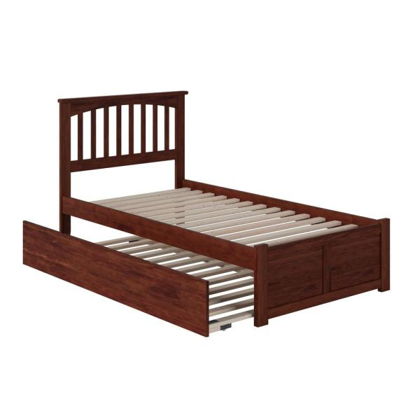 Mission Twin Extra Long Bed with Footboard and Twin Extra Long Trundle in Walnut