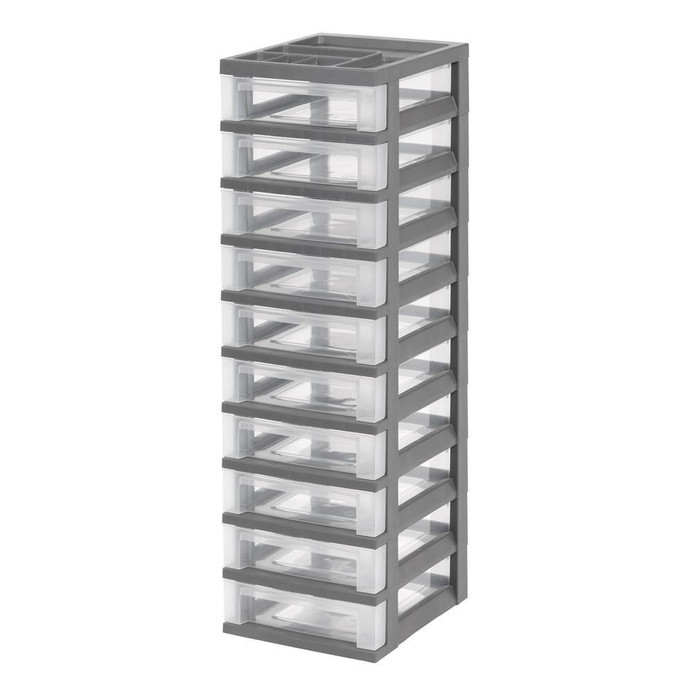 Gray 10 Drawer Storage Cart With Organizer Top