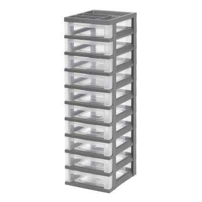 12.05 in. x 40 in. Gray 10-Drawer Storage Cart with Organizer Top