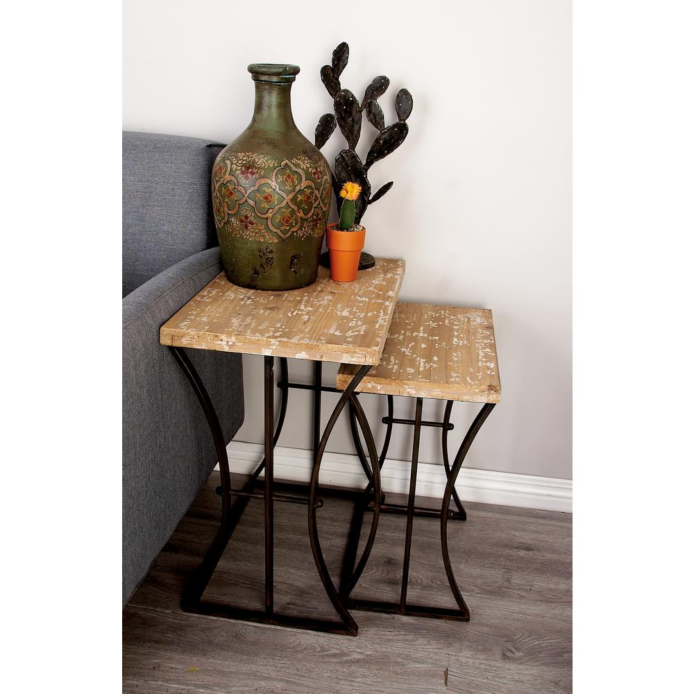 Distressed Bleached Brown Rectangular Wooden Nesting Tables (Set of 3)