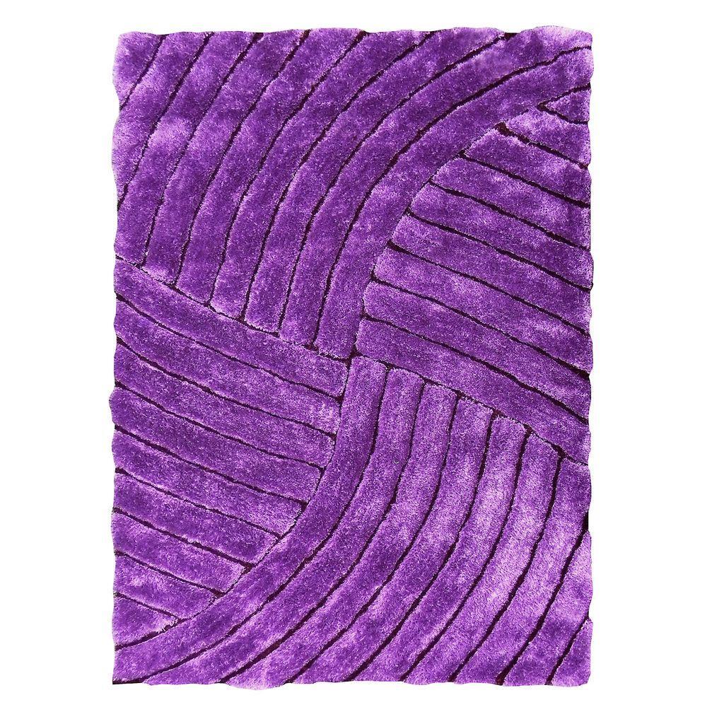Purple Rug 2 Ft: DonnieAnn 3D Shaggy Abstract Wave Design Purple 5 Ft. X 7