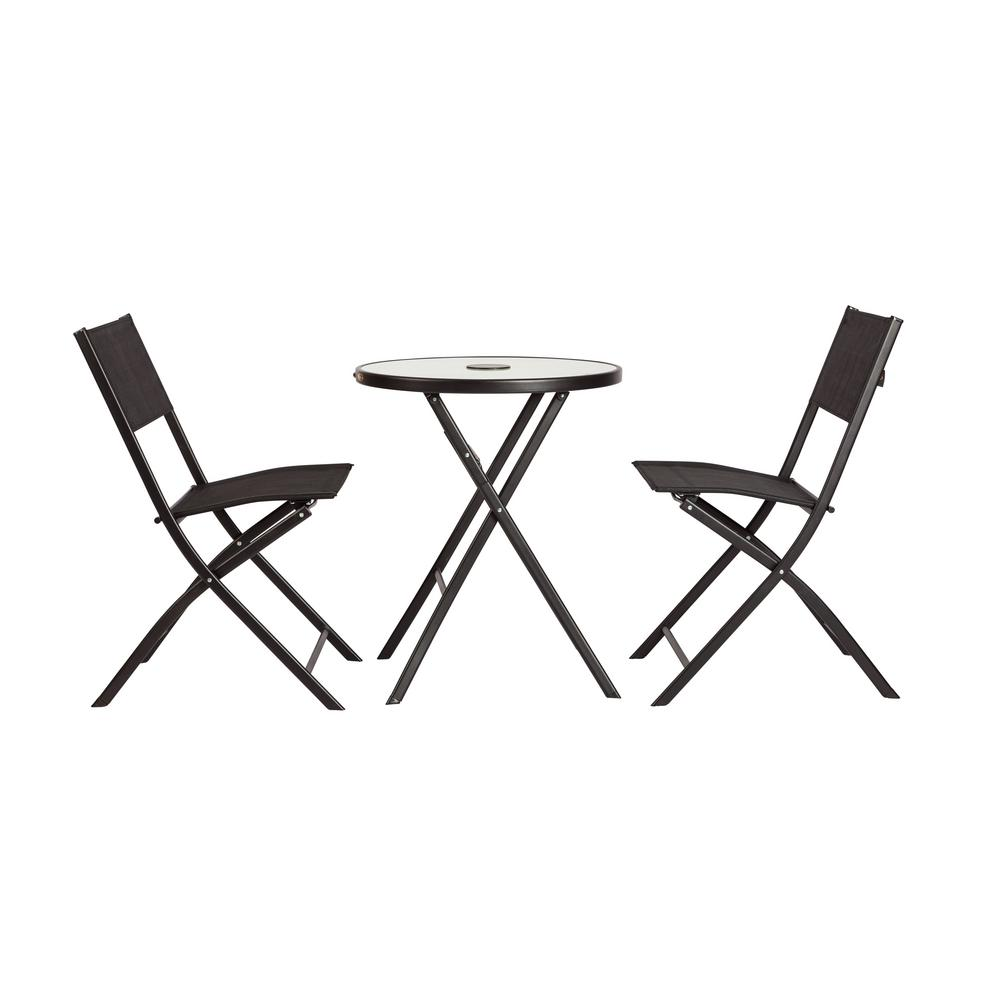 patio sense sobe illuminated metal outdoor bistro set 3 piece 62424 the home depot. Black Bedroom Furniture Sets. Home Design Ideas
