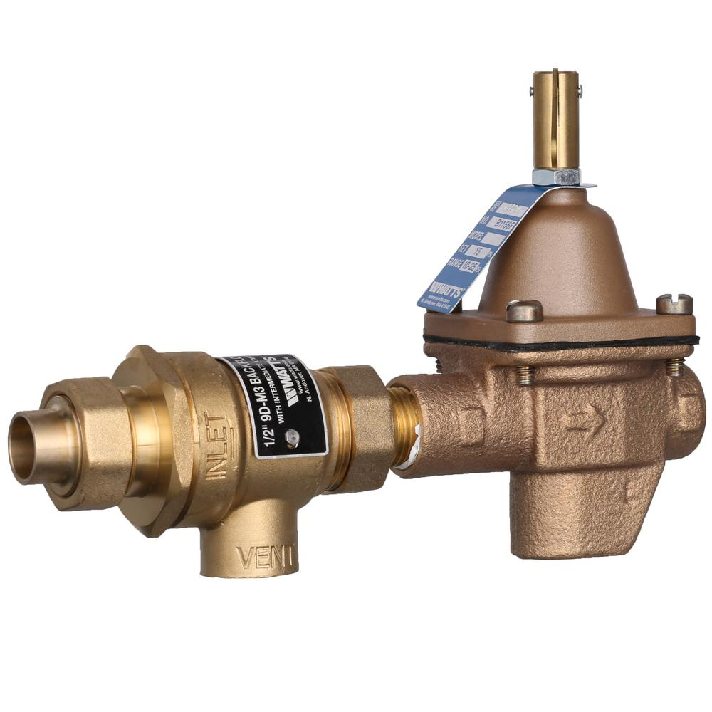 Watts 1 2 In Bronze Pressure Fpt X Sweat Boiler Fill Valve And Backflow Preventer