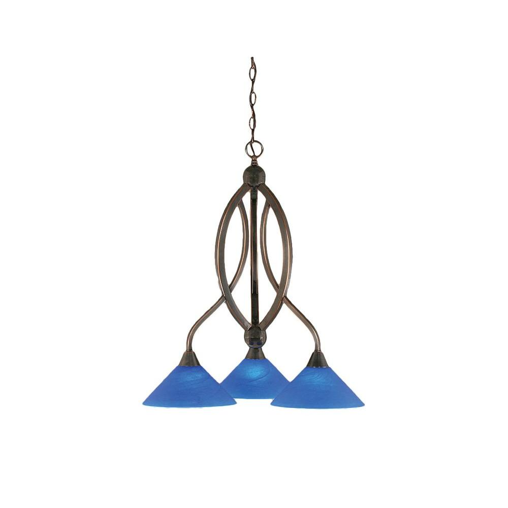 Concord 3-Light Black Copper Chandelier with Blue Italian Glass