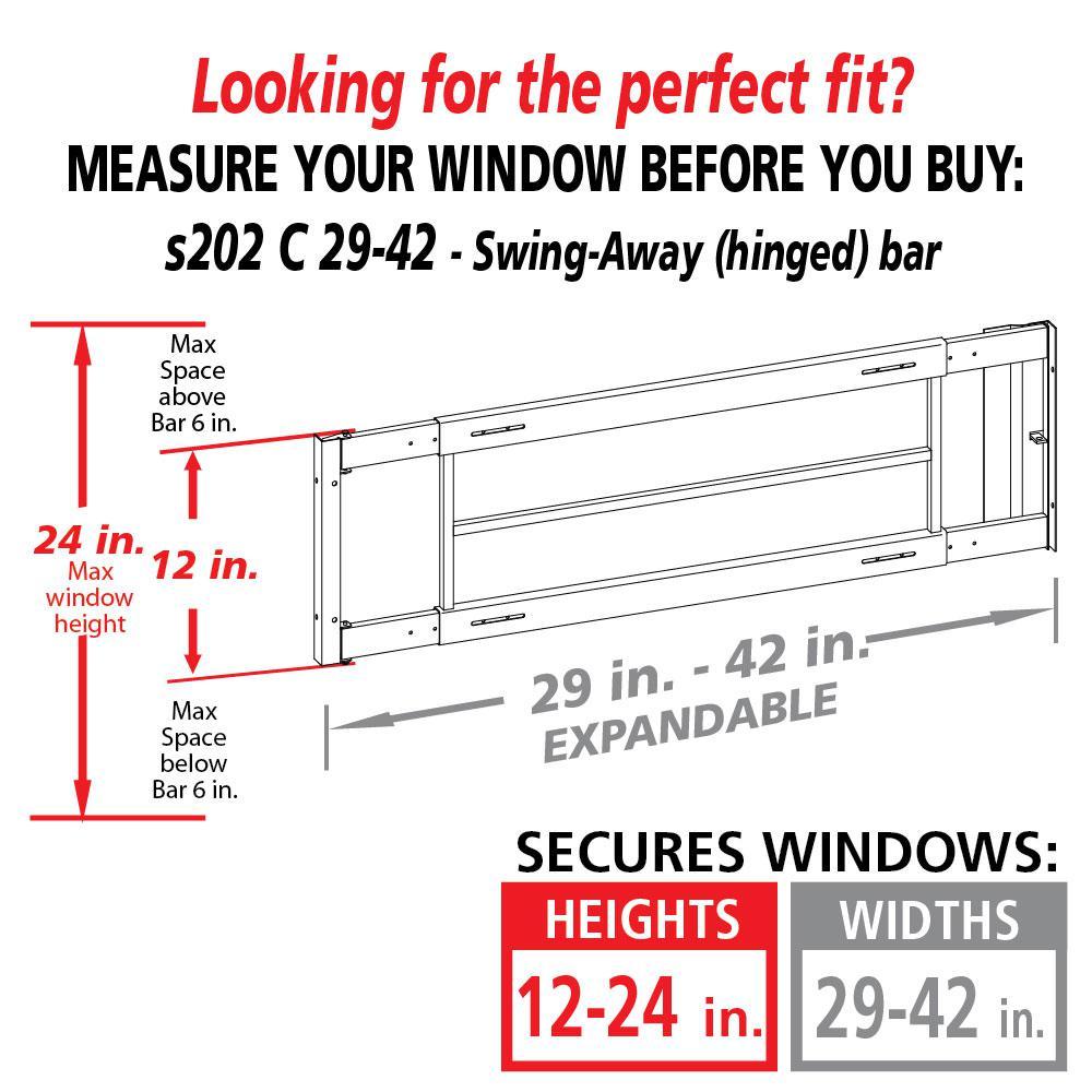 Swing-Away 29 in. to 42 in. Adjustable Width 3-Bar Window Guard, White